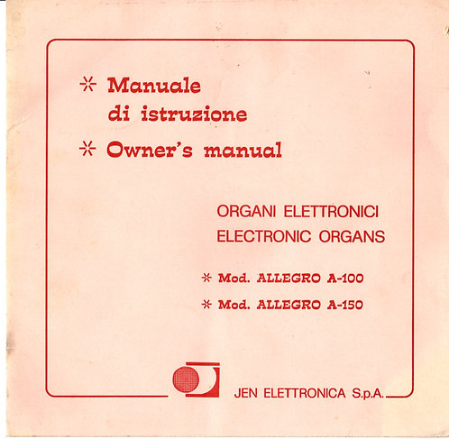Allegro A-100 / A-150 Owners Manual