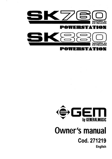 SK760 - SK880 Owners Manual