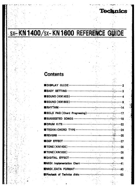 KN1400 / KN1600 Reference Guide