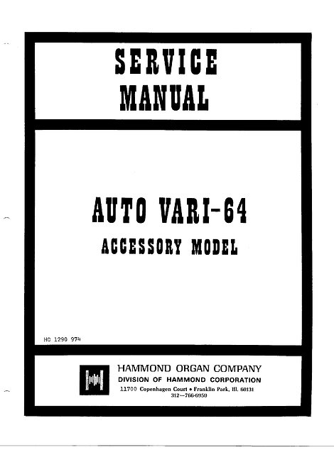 Auto Vari 64 Accessory Service Manual