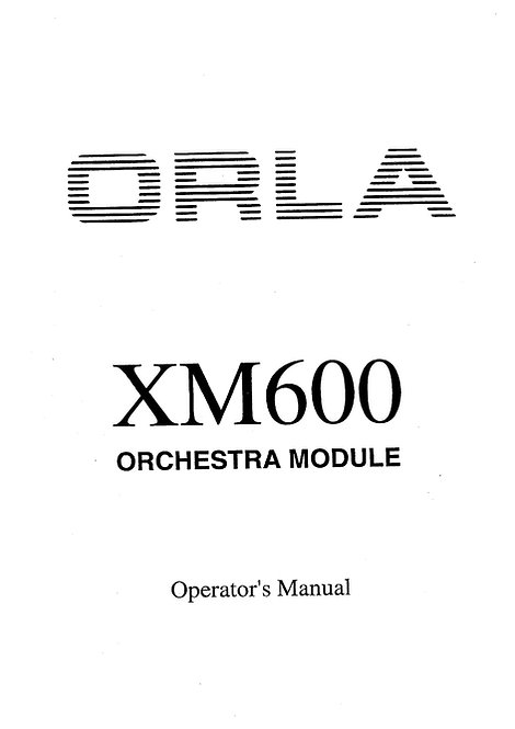 XM600 Owners Manual