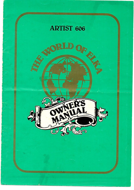 Artist 606 Owners Manual