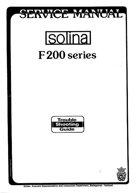 Solina F200 Series Trouble Shooting Guide