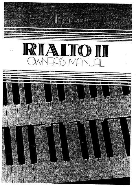 Rialto II Owners Manual