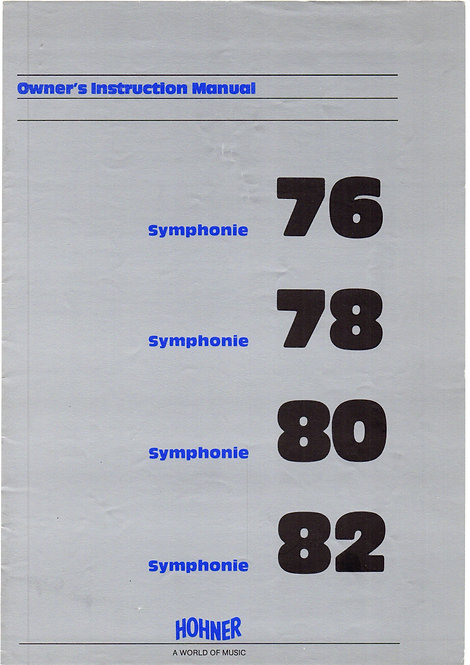 Symphonie 76 - 78 - 80 - 82 Owners Manual