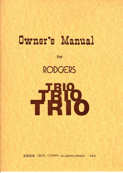 Trio Owners Manual