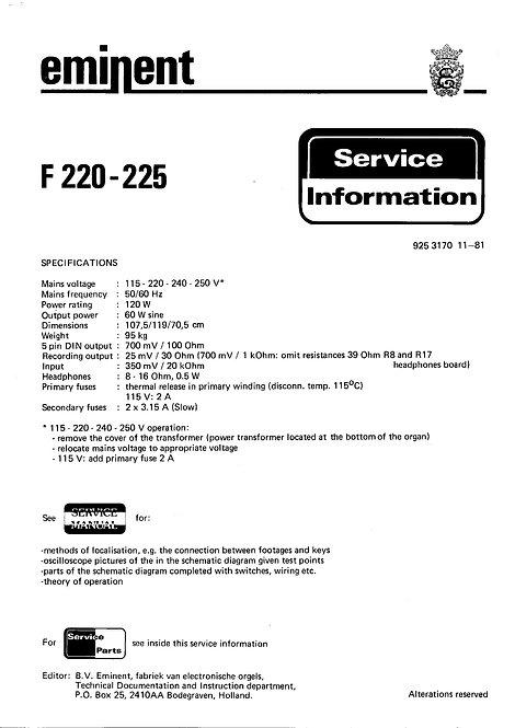 F220 - 225 Service Manual