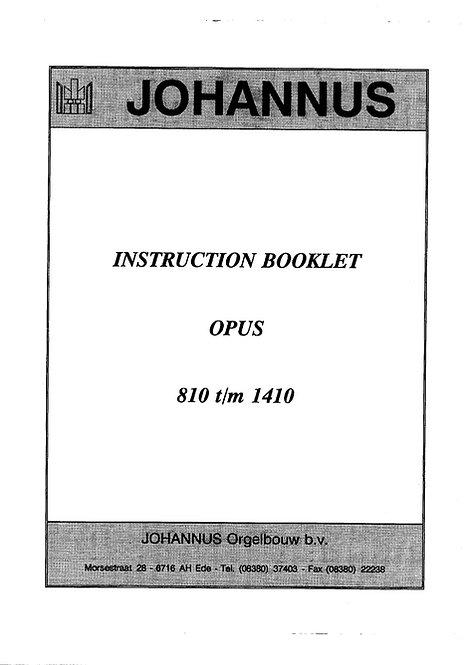 Opus 810 t/m 1410 Instruction Booklet