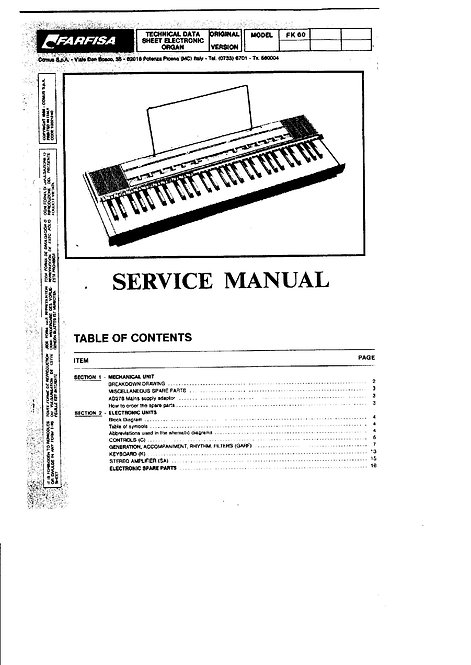 FK 60 Service Manual