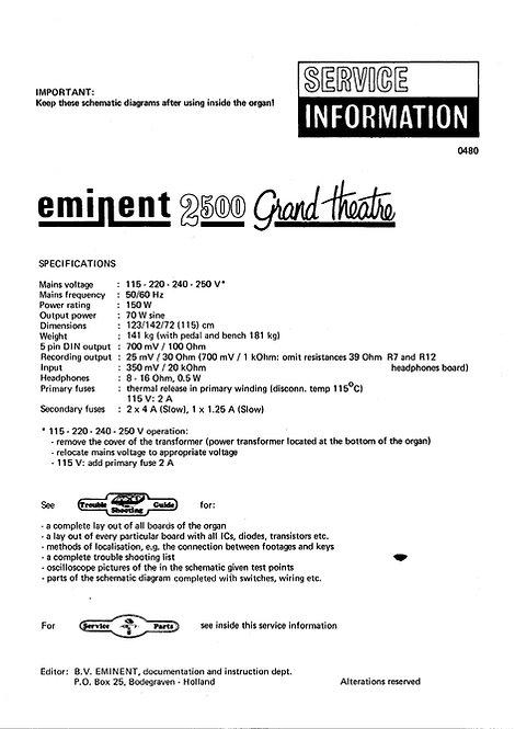 2500 Grand Theatre Service Information