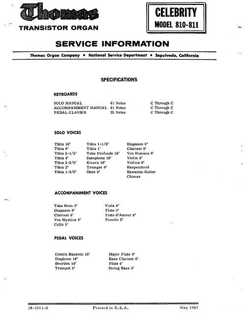 Celebrity 810 - 811 Service Information