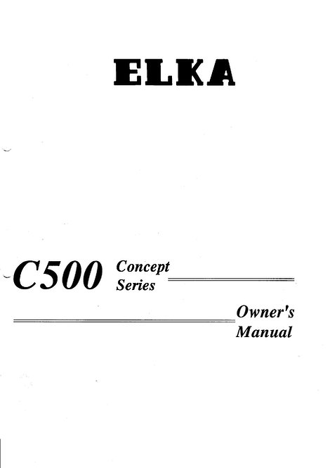 C500 Concept Series Owners Manual