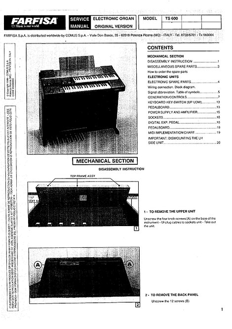 TS600 Spinet Organ Service Manual