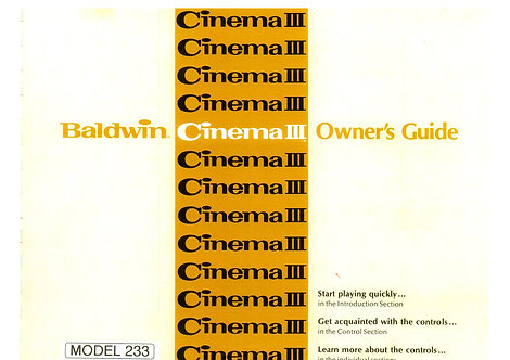 233 Cinema III Owners Manual