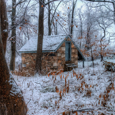 Snow Fall On Spring House