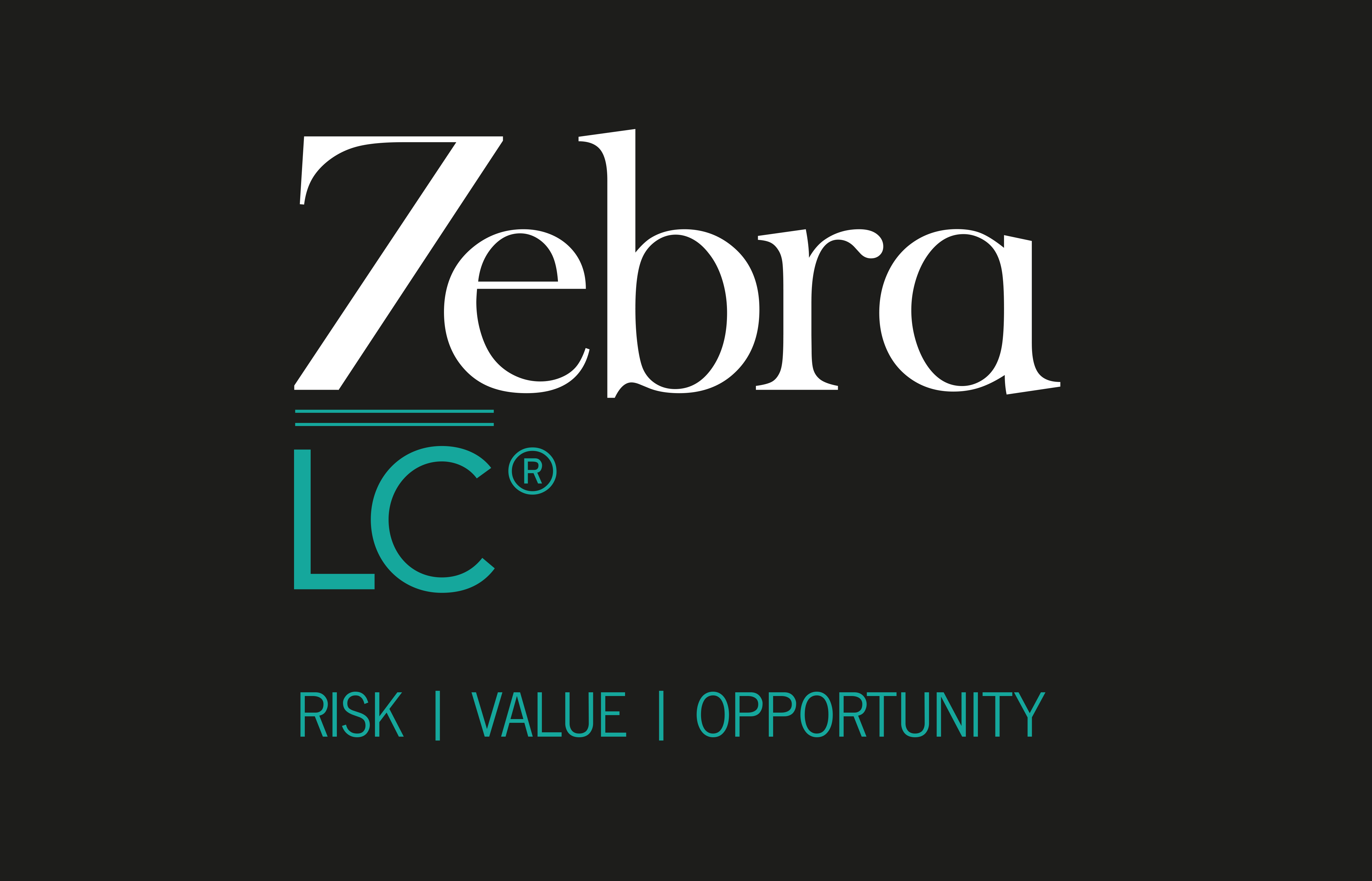 Zebra logo R white on black strapline