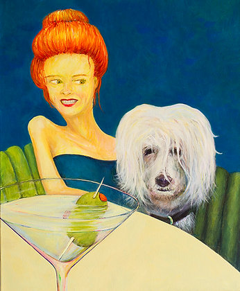 Red Hair Martini Lady with her Dog Tango