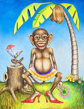 """Jennifer the Monkey Girl Mini 8 x 10"""" framed."""