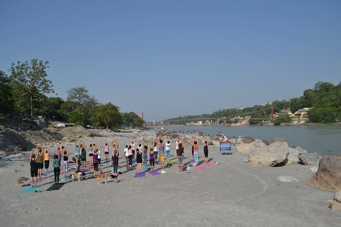 Yoga by the beach in Rishikesh