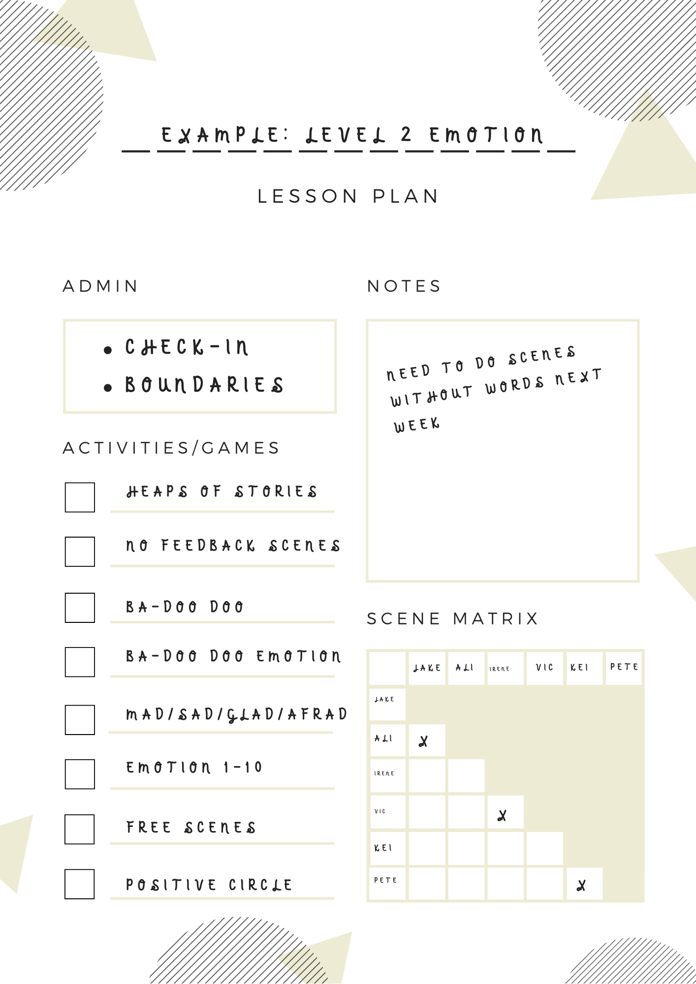 Improv Lesson Plan Template