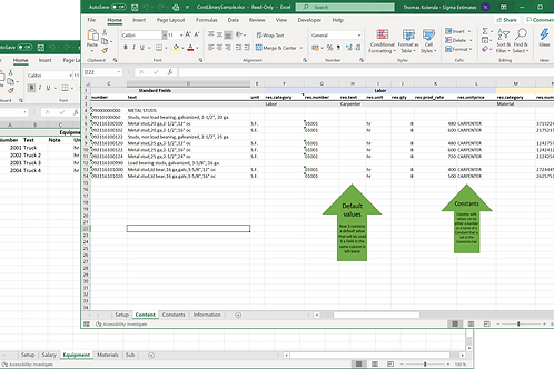 Sigma - Excel to Cost Library Tool
