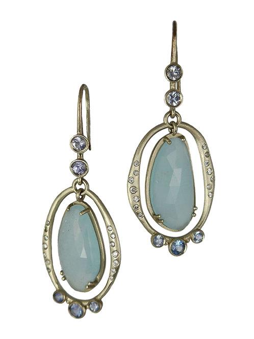 Aquamarine slice earings with sapphires & diamonds