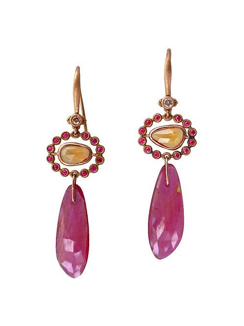 14k Diamond, ruby & yellow sapphire earings