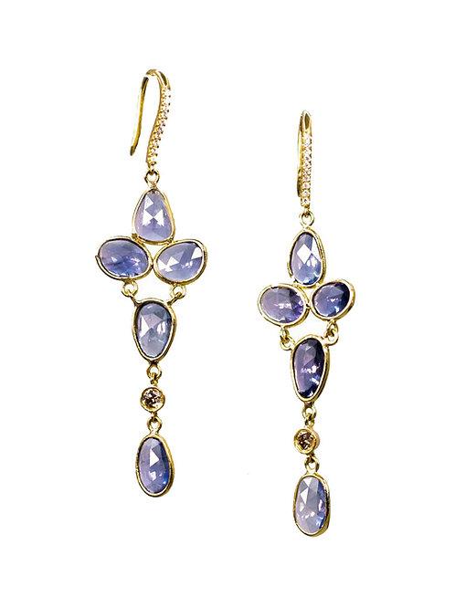 14k Diamond & blue sapphire earings