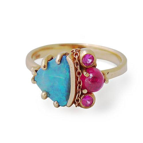 14k rg Black australian opal, pink sapphire & tourmaline ring