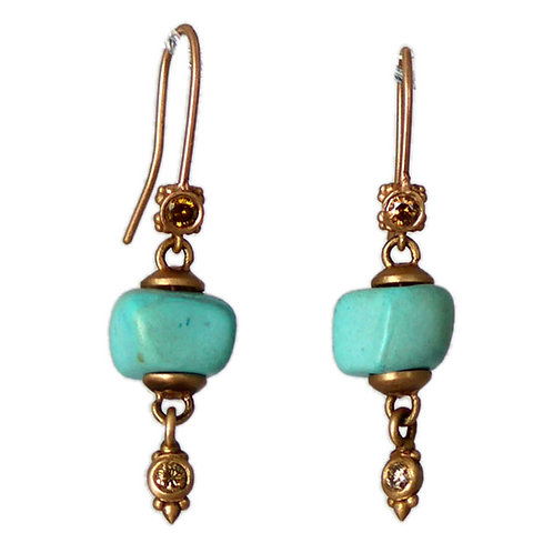 Organic turquoise block earrings