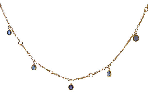 Mixed Gold Chain Necklace with Blue Sapphire Slices