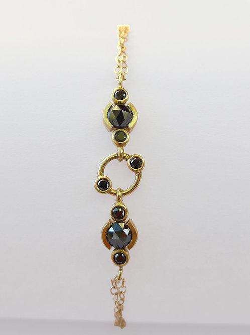 14k Yellow Gold & Black Diamonds