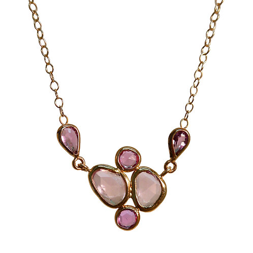 Gold Necklace with Pink Sapphire Slice Cluster