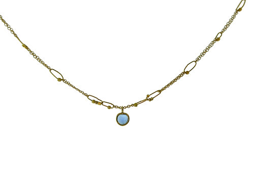 Mixed Gold Chain Necklace with Sapphire Slice