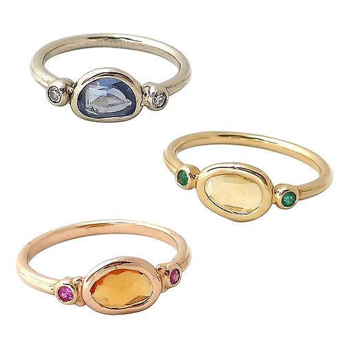 Multi color sapphire, emerald & diamond ring