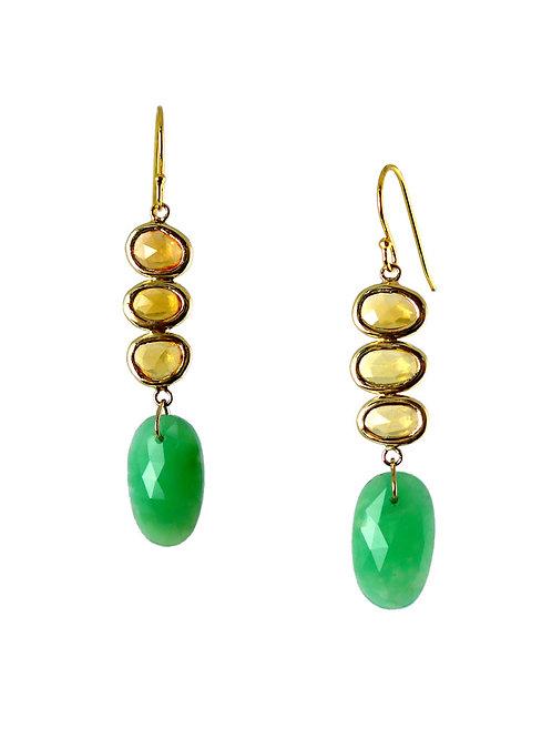 14k Yellow sapphire & chrysoprase earings
