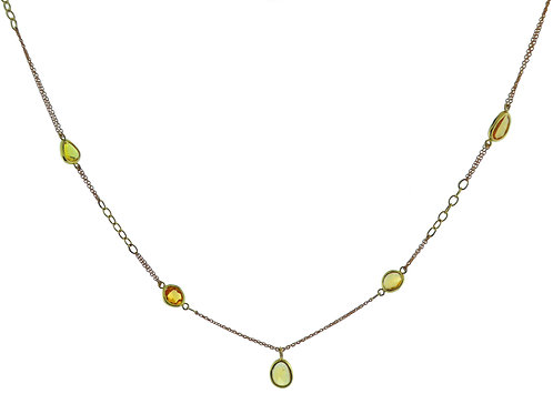 Mixed Gold Chain Necklace with Sapphire Slices