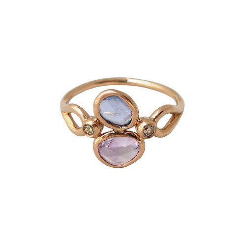 14k rose gold sapphires & champagne diamond ring