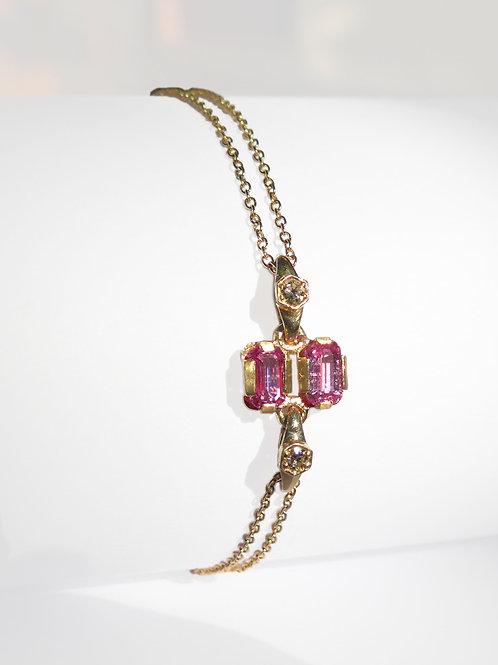 14k Yellow Gold Pink Sapphire & Champagne Diamonds