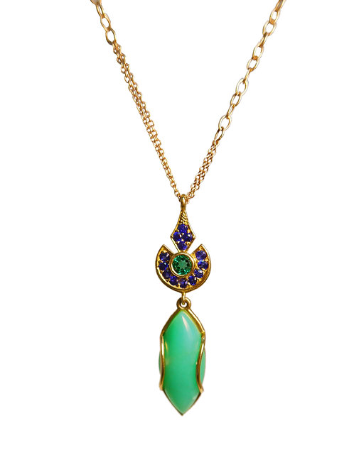 Rose Gold Chrysoprase pendant with Emerald and Sapphire