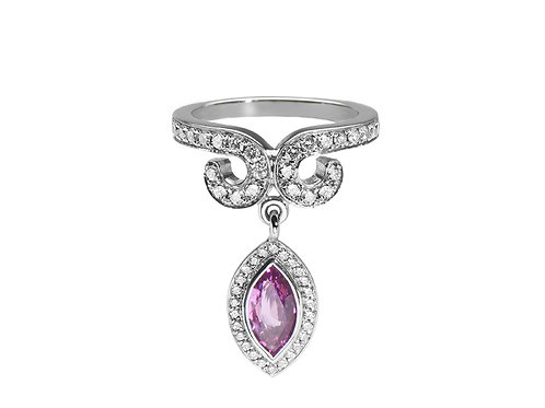 Drop Diamond Ring with Pink Sapphire
