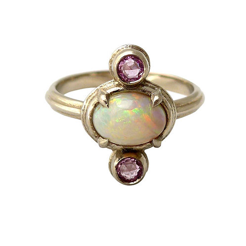 14k wg White australian opal & rose cut pink sapphire ring