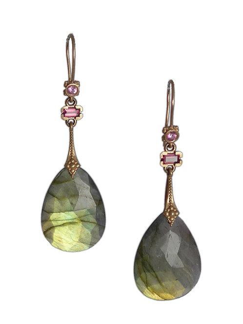 14k Labrodorite drops w/pink sapphire earings