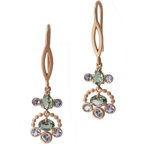 14k Blue & green sapphire earings