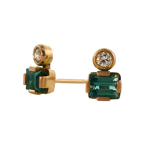 Green tourmaline and diamond studs