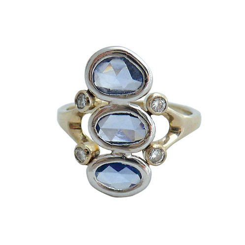 14k wg Blue sapphire & diamond ring