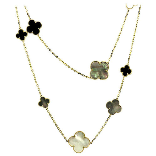 Van Cleef & Arpels, Magic Alhambra Long Necklace, 16 Motifs, Mother of Pearl