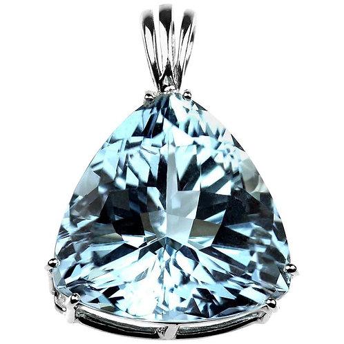 Big Aquamarine Pendant in Platinum 'Triangle Cut'