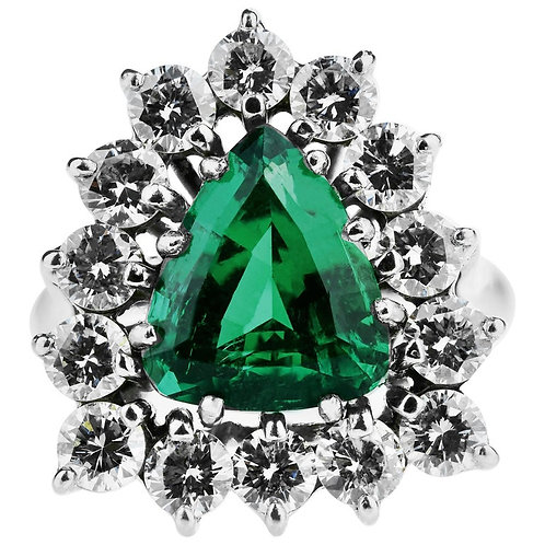Certified Emerald, Trilliant Cut & Diamonds Cocktails Ring