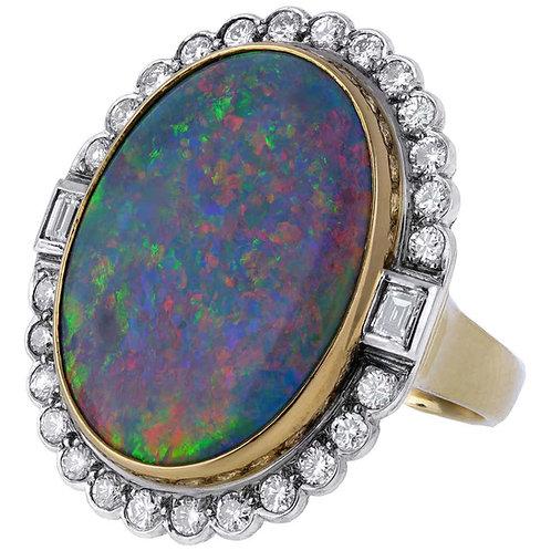 Retro, Vintage Multi-Color Australian Opal & Diamond Dress Ring in 18 Karat Gold